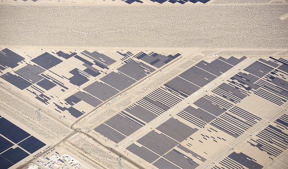 Spread over an area of 400 acres, the Nevada Solar One is a massive project built in the hot and dry desert, just south of Las Vegas. The plant uses 760 parabolic trough concentrators with more than 182,000 mirrors that concentrate the sun's rays onto more than 18,240 receiver tubes placed at the focal axis of the troughs and containing a heat transfer fluid (solar receivers). The projected CO2 emissions avoided is equivalent to taking approximately 20,000 cars off the road annually. It is a refreshing site to look at - I for one, can't wait to fly a solar powered Cessna.